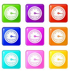 speedometer set 9 vector image vector image