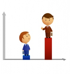 two businessmen's with graph vector image vector image
