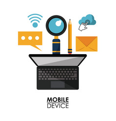 white background poster of mobile device with vector image vector image