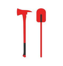 axe and shovel icon fire departament equipment vector image