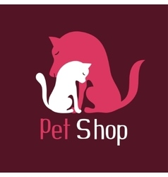 Cat and dog tender embrace sign for pet shop logo vector image vector image