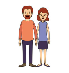 Color image caricature full body couple woman with vector