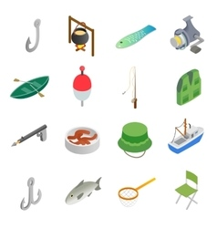Fishing isometric 3d icons set vector image