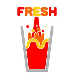 Fresh juice glass Squirting juice vector image vector image