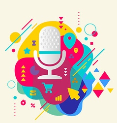 Microphone on abstract colorful spotted background vector image