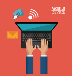 red background poster of mobile device with hands vector image