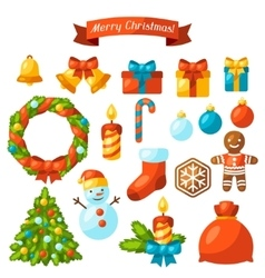 Set of Merry Christmas holiday celebration object vector image