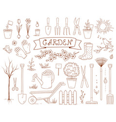 spring garden and set of tools vector image vector image
