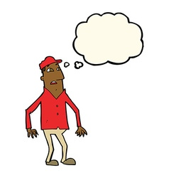cartoon shocked man with thought bubble vector image vector image