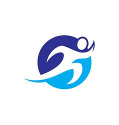 human run circle logo image vector image