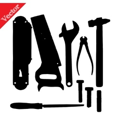 Old silhouettes tools isolated on white vector