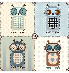 Patchwork with owls vector image