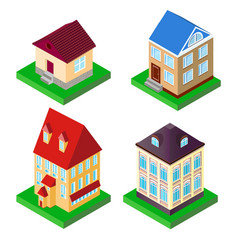 set of houses in perspective vector image