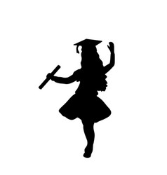 silhouette girl graduation finished studying vector image