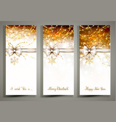 three gold christmas greeting cards with bow vector image