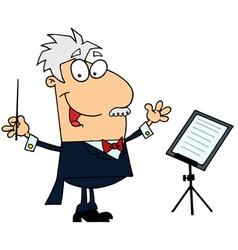 Caucasian Cartoon Music Conductor Man vector image vector image