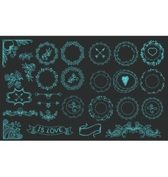 Collection of handdrawn laurels and wreaths vector image vector image