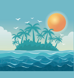Colorful poster sky landscape of palm trees on the vector