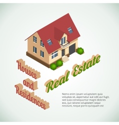 flat 3d real estate poster vector image vector image