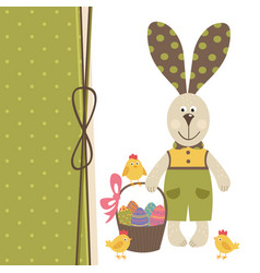 happy easter greeting card with bunny boy vector image vector image