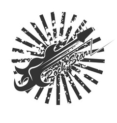 rock star logo with abstract guitar and black vector image