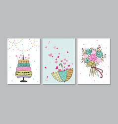 set of beautiful birthday love congratulation vector image