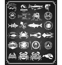 Set of seafood labels and badges vector image vector image