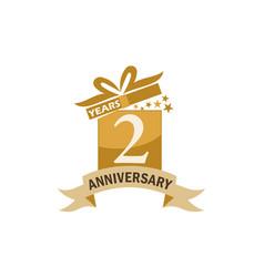2 years gift box ribbon anniversary vector