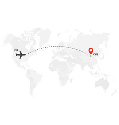 airplane line path air plane flight route with vector image