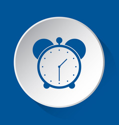 alarm clock - simple blue icon on white button vector image