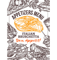 appetizers menu hand drawn poster template vector image