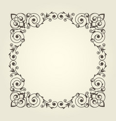 art nouveau style square frame with stright lines vector image
