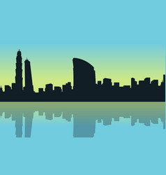 art of dubai city silhouette scenery vector image