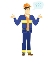 asian confused builder with spread arms vector image