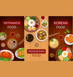 Asian food set of vertical web banners vector