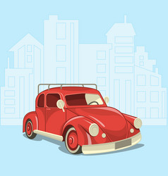 beautiful retro car on the background of the vector image