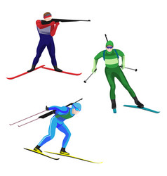 Biathlonists set on skis vector