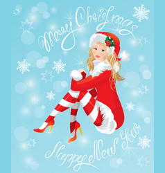 Blond Pin Up Christmas Girl wearing Santa Claus su vector image