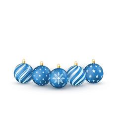 blue christmas balls set holiday decorative vector image