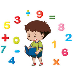 Boy reading book with numbers in background vector