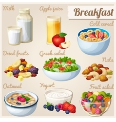 Breakfast 2 Set of cartoon food icons vector image