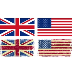 British and American flags vector image vector image