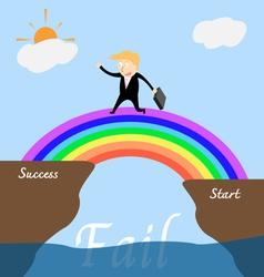 Businessman across the rainbow bridge to success vector