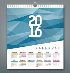 Calendar 2016 triangles geometric blue background vector image