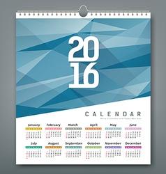 Calendar 2016 triangles geometric blue background vector