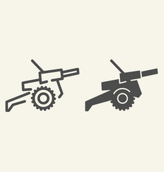 Cannon line and glyph icon war vector
