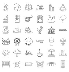 caregiver icons set outline style vector image