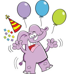 Cartoon elephant with balloons vector