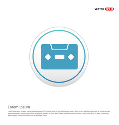 cassette icon - white circle button vector image