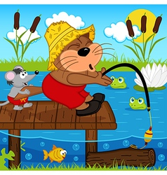 Cat mouse fishing vector